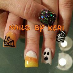 Halloween acrylic nails. NAILS BY KERI.
