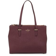 kate spade new york cedar street small jensen tote bag (417 CAD) ❤ liked on Polyvore featuring bags, handbags, tote bags, mulled wine, zippered tote, zippered tote bag, leather tote bags, leather wine tote and brown leather handbags