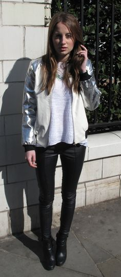 ABSOLUTELY ADORE THIS!!! Rosie Fortescue looking fabulous in a Missguided jacket, Zara jumper, Topshop trousers and Tods boots!