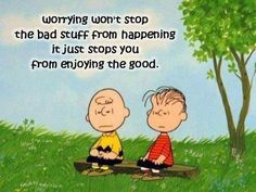 Worrying won't stop the bad stuff from happening.....Charlie Brown