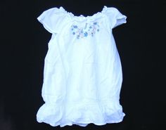 GIRLS' GYMBOREE Cotton Top, White Blue Flower embroidery Malibu Cowgirl, Size 8 #Gymboree