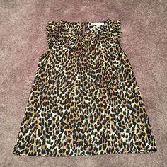LOFT leopard blouse LOFT leopard sleeveless blouse. Flutter sleeve detail. Button keyhole closure back. LOFT Tops Blouses