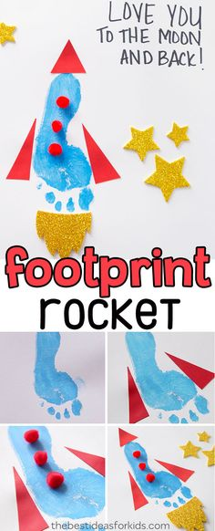 Adorable footprint craft for Father's Day! This cute footprint rocket is easy and fun to make as a Father's Day craft for kids. A great Father's Day Crafts for Kids, Father's Day Craft for Toddlers, Father's Day Crafts for Preschoolers, Father's Day Crafts for Kids to Make. #bestideasforkids #kidscrafts #fathersday #footprint #kidsactivities #keepsake via @bestideaskids