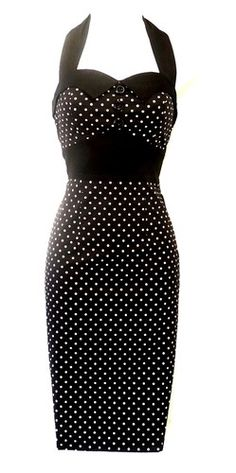 New H Black Polka Dot Vtg 1950's style Pin-Up Rockabilly Wiggle Dress UK 12 | eBay