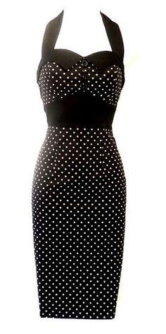 New H Black Polka Dot Vtg 1950's style Pin-Up Rockabilly Wiggle Dress UK 12 | eBay