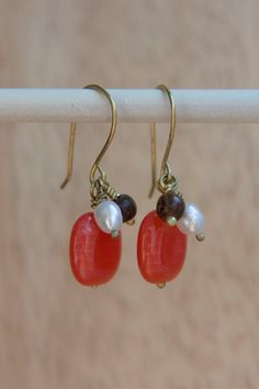 Red Coral Lozenge Earrings by emmaruthjones on Etsy, $18.00