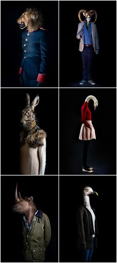 More often than normal, we've been seeing portraits of animals – from cats to dogs to zoo animals – dressed so adorably in human clothing. Madrid based photographer Miguel Vallinas has taken a more realistic, and ironically serious, approach to this movement. Each of the animals are dressed exactly how you'd image them if they were human!