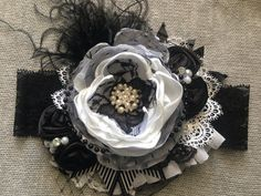 Black and White headband by ChloeRoseCouture on Etsy