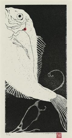 """Sea Bream"" silkscreen by Minako Kawauchi, Koi, Japanese Prints, Japan Art, Fish Art, Woodblock Print, Graphic, Printmaking, Illustration Art, Painting"