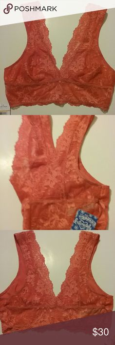 Free People Bralette New with tags. Size small. Pink coral color. Free People Intimates & Sleepwear Bras