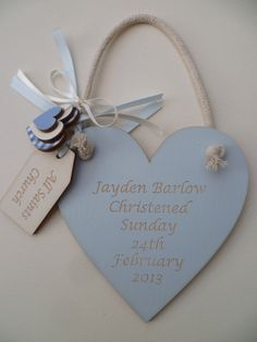 Boys wooden christening heart.