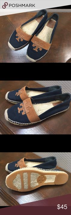 Tory Burch Canvas Espadrille Rope Navy Flats Tory Burch Espadrille Canvas Rope flats. Navy & tan. Size 8 Tory Burch Shoes Espadrilles
