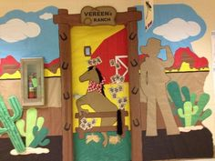 Western / Cowboy theme door for I Love to Read Week Holiday Door Decorations, School Decorations, School Themes, Classroom Themes, Library Decorations, Classroom Displays, Classroom Activities, School Ideas, Cowboy Theme