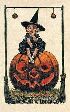 Vintage Halloween Postcard ~ Little Witch on a Jack O' Lantern