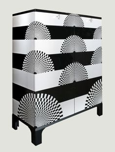 Eclectic Armoire/Tall Cabinet - Perfer for the black/white themed rooms.  Love the graphics!  Piero Fornasetti Armoire