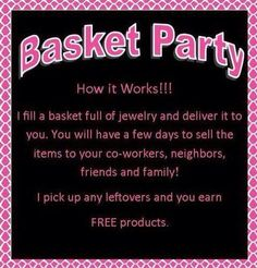 No time to host a party? Then take it with you! Host a Basket Party from Work, Church, Holiday Event .. just about anywhere. I fill the basket FULL of gorgeous jewelry, you take it with you to sell. Its that simple! Earn FREE Hostess rewards .. ask me how today :) https://www.facebook.com/itsagirlthingpaparazzi