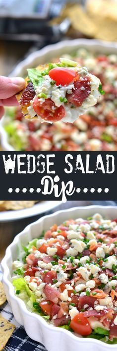 Wedge Salad Dip has all the flavors of a wedge salad in a delicious dip that's p. Wedge Salad Dip has all the flav. Appetizer Dips, Yummy Appetizers, Appetizers For Party, Camping Appetizers, Summer Appetizer Recipes, Wedge Salad, Tailgate Food, Tailgating, Tasty