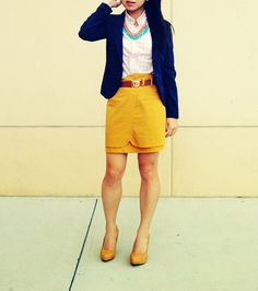 I think i have this skirt...just need the navy blazer - perfect!