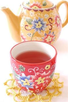 Shabby Chic Pretty Orange Tea Pot and Pink Tea Cup with Ornate Designs