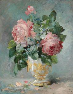 Monogrammist AM, circa 1900 Renoir Paintings, Cross Paintings, Art Floral, Hand Kunst, Mosaic Flower Pots, Still Life Art, Rose Art, Hand Art, Arte Pop