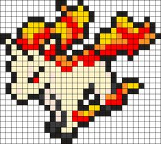 Rapidash Pokemon Bead Pattern by on Kandi Patterns Melty Bead Patterns, Kandi Patterns, Perler Patterns, Beading Patterns, Ponyta Pokemon, Pokemon Sprites, Pikachu, Pokemon Cross Stitch, Pokemon Perler Beads