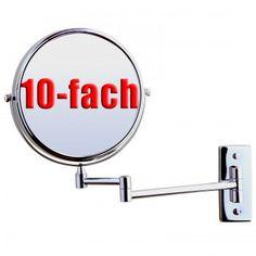Wandspiegel Kosmetikspiegel zweiseitig, klappbar,10-fach Vergrößerung, 8inch BBM001