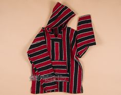 Soft Woven Baja Shirt Hoodie -Red XL (b23)