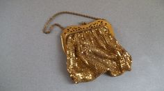 Early 1900s Gold Mesh Metal Handbag Wristlet by MayPoleDays $39