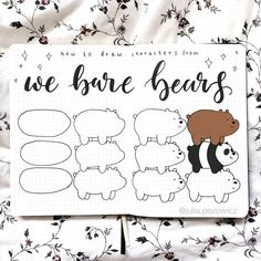 Easy Drawings We bare bears doodles by ig Bullet Journal Writing, Bullet Journal Ideas Pages, Bullet Journal Inspiration, Cute Bear Drawings, Doodle Drawings, Easy Drawings, Simple Doodles, Cute Doodles, Easy Doodle Art