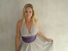Gray cotton, knee length, Marilyn Monroe dress with purple chiffon waistline.  Perfect for many occasions.  You can combine it with purple sandals and