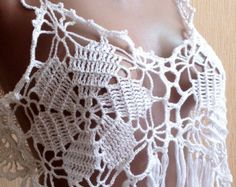 Grey white crochet top/ Crochet fringe top/ Granny by ElenaVorobey