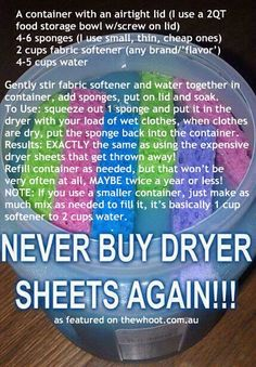 Homemade Dryer Sheets - Cheap fabric softener with water and sponges! Household Cleaning Tips, House Cleaning Tips, Cleaning Hacks, Cleaning Supplies, Household Cleaners, Spring Cleaning, Cleaning Recipes, Organizing Tips, Household Products