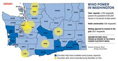 A map of wind power in Washington. Growth Company, Green Initiatives, Business Magazine, Wind Power, Change Is Good, Under Construction, Sustainability, Seattle, Infographic