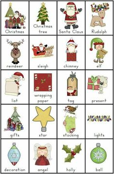Christmas Vocabulary Charts and 8 Writing Tasks - 5 pages - Clever Classroom - Christmas Writing, English Christmas, Christmas Words, Preschool Christmas, Christmas Activities, Christmas Themes, English Lessons, Learn English, Christmas Worksheets
