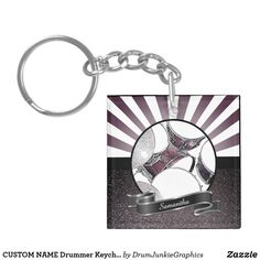CUSTOM NAME Drummer Keychain Drum Kit Key Chain