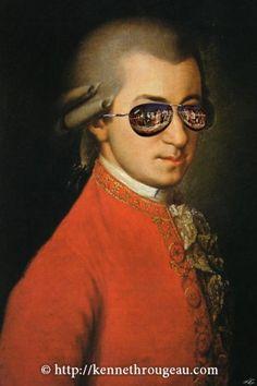 Mozart In Mirrorshades cyberpunk scifi digital collage by Kenneth Rougeau