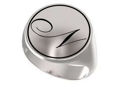 Silver Letter Ring ,Initial Ring ,Letter N ring, Monogram Ring, Letter Rings, Signet Ring, Round Ring, 925 Sterling Silver Ring, Unisex Ring