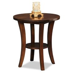 wood round end table