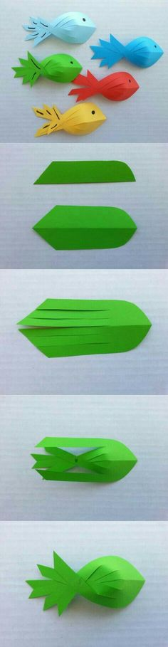 fish art for the kiddos - Origami - Kids Crafts, Summer Crafts, Projects For Kids, Diy For Kids, Diy And Crafts, Craft Projects, Arts And Crafts, Craft Kids, Diy Paper