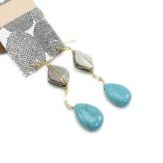 Fashion Shell and Turquoise Drop Dangle Earrings