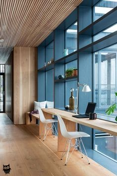 34 Awesome Modern Office Design Ideas – Modern Home Office Design Modern Office Decor, Industrial Office Design, Office Space Design, Workspace Design, Home Office Space, Office Interior Design, Home Office Decor, Office Interiors, Home Interior