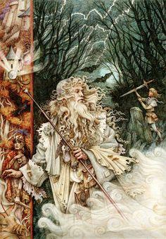 Merlin by Anne Yvonne Gilbert ~ fairytale art ~ Sword in the Stone