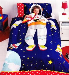 If you'd been to my house you'll know why! Spaceman Bedding Quilt Cover Set Boys Kids Rocket Space Ship Astronaut Stars New[Double (King Single) Size Quilt Cover S Cool Kids Bedrooms, Kids Rooms, Rockets For Kids, Cubby Houses, Kids Bedroom Furniture, Quilt Cover Sets, Bedroom Themes, Kid Beds, Bunk Beds