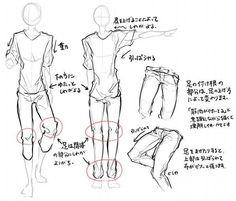横顔/身体/服のシワの描き方のようなもの。 | ほさしー