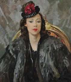 Portrait of Poppet in Black Hat by Augustus John that was formerly owned by Elizabeth Taylor.