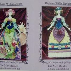 The Mer Maiden Double Sided Cloth Doll by Barbara Willis Doll Making Equipment Cross Stitch Kits, Embroidery Kits, Fun Projects, Doll Clothes, Arts And Crafts, Mermaid, Enamel, Dolls, Fabric