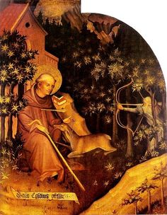Saint Giles  became a hermit who, according to legend, was nourished by the milk from a hind sent from God. One day a deer jumped into the cave St. Giles was in and a hunter shot an arrow into the cave with hopes of hitting the deer but he actually hit St. Giles.