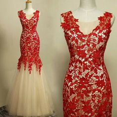 Vestidos de Noivas 2014 Sexy Mermaid Wedding Dresses Red Lace Bridal Gowns Wedding Dresses Free Shipping $149.99