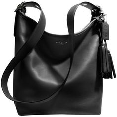 Coach Legacy Leather Duffle Shoulder Handbag , Black (650 BRL) ❤ liked on Polyvore featuring bags, handbags, shoulder bags, purses, accessories, bolsas, black, leather zip pouch, purse pouch and leather shoulder bag