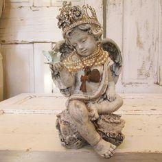 Cherub statue holding bluebird handmade ornate crown shabby chic inspired angel figure embellished in jewelry pearls home decor anita spero